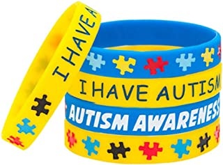 JewelryJo 5 Pack Autism Awareness Silicone Sports Wristband Bracelets Jigsaw Colored Puzzle Pieces I Have Austism
