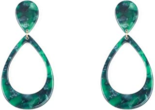 Green Gold Tone Acrylic Drop Link Earrings