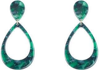 Green Gold Tone Acrylic Drop Link Earrings