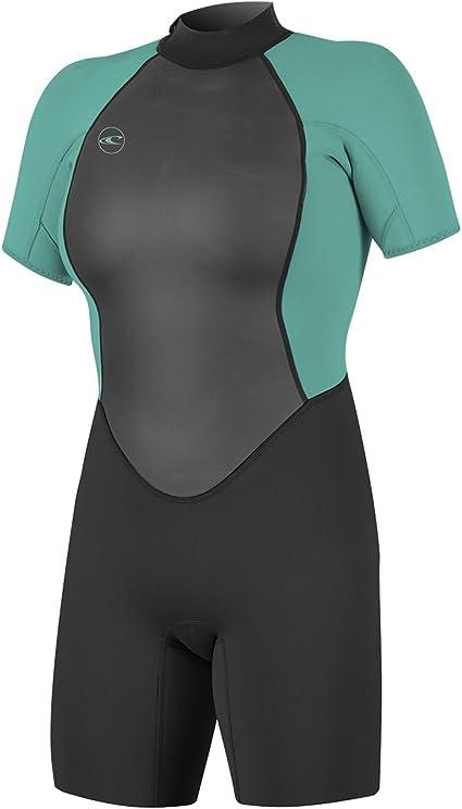 O'Neill Women's Reactor-2 2mm Back Zip Short Sleeve Spring Wetsuit, Black/Light Aqua, 8