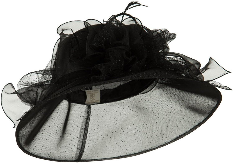Glitter Big Bow Organza Hat  Black