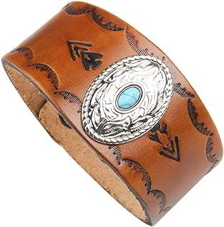 DENTRUN Adjustable Turquoise Genuine Leather Cuff...