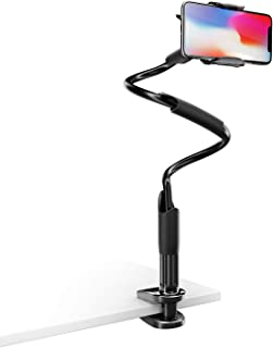Phone Holder Bed Gooseneck Mount - Lamicall Flexible Arm 360 Mount Clip Bracket Clamp Stand for Cell Phone XS Max XR X 8 7 6 Plus 5 4, Samsung S10 S9 S8 S7 S6, Overall Length 33.4In(Black)