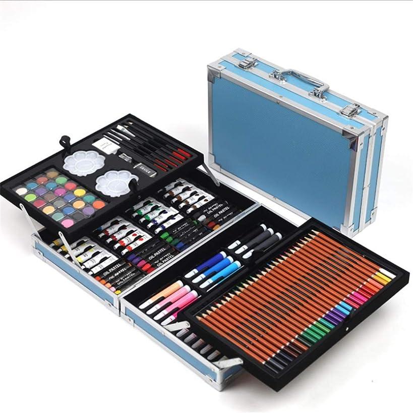 逆さまに十億消えるプロの水彩画の鉛筆セット 168セットのカラーグラフィックペイントアートポインティングスケッチペンダブルマークデザインカラーリングブライトスーツ 水彩画 (色 : 青)