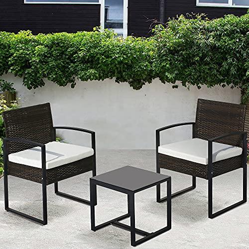 Gartenmöbel-Set aus Rattan, 3-teilig, mit Kissen, einem Tisch, für drinnen und draußen, wetterfest, für Terrasse, Wintergarten, Braun