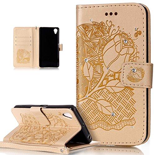 Sony Xperia X rendimiento caso, Sony Xperia X Perfomance Cover, ikasus), diseño de calavera de flores campanula pattern shiny Glitter Crystal Rhinestone Diamante piel sintética plegable tipo cartera,