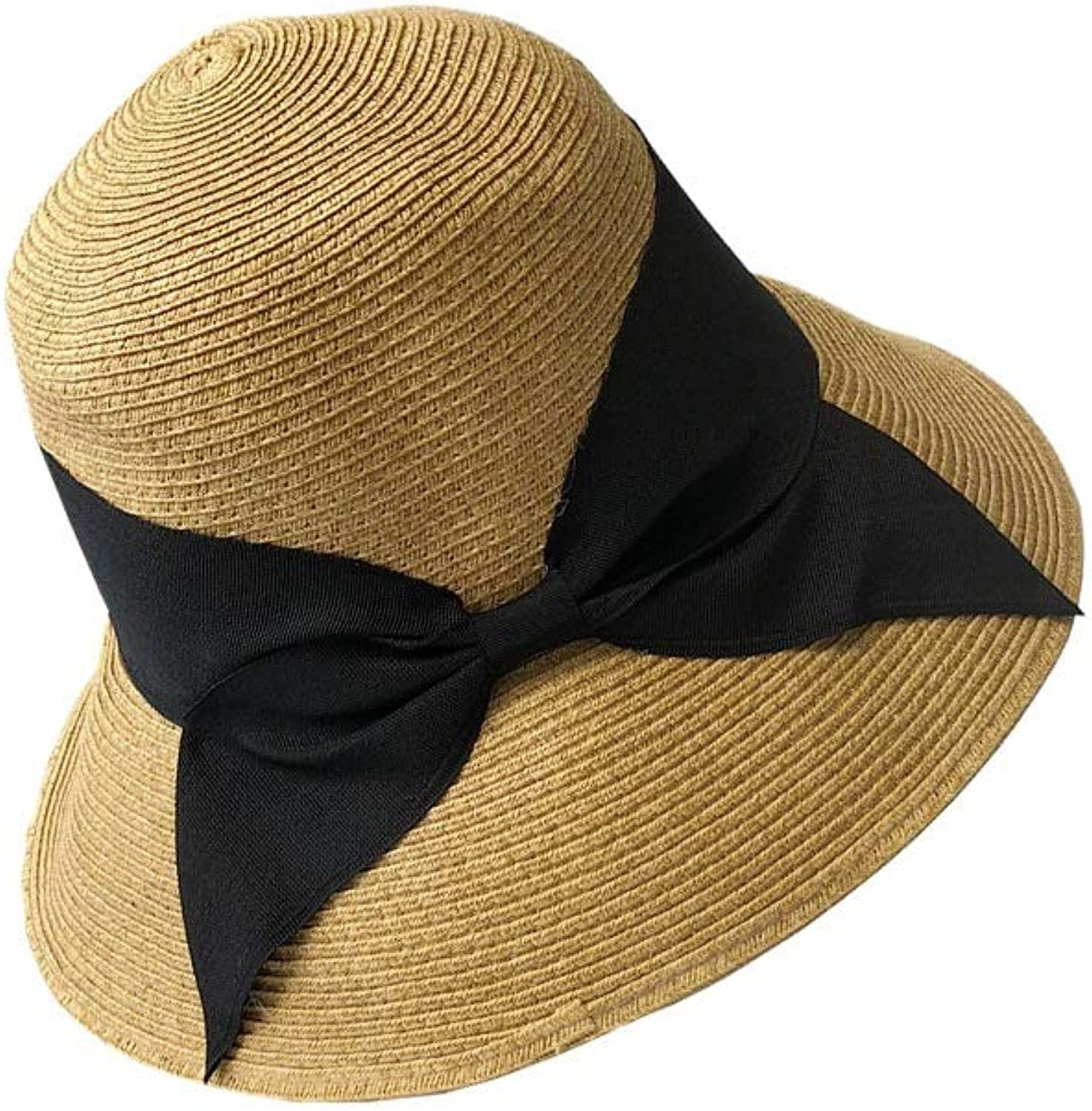 Primary color Black Butterfly Simple Female Hat Folding Japanese Face Sun Hat Summer Beach Vacation Straw Hat Bow Hat Visor