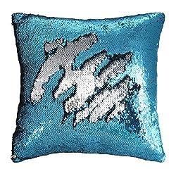 Silver-blue Flip Sequin Pillow Cover Throw