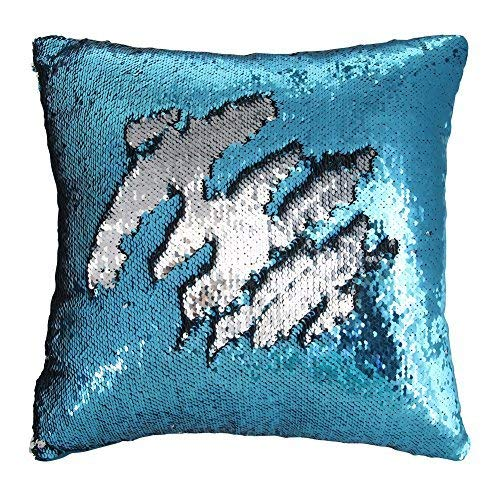 Play Tailor Sequin Pillow Case Flip Sequin Pillow Cover Throw Cushion Cover 16x16in, Silver and Blue