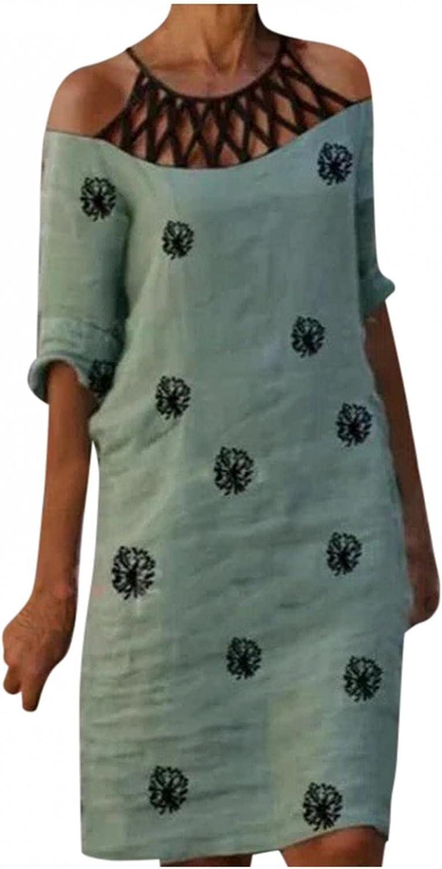 Aunimeifly Women's Plus-Size Dress Maxi-Long V-Neck 3/4 Sleeve Casual Loose Floral Dresses Tunic T Shirt Dress