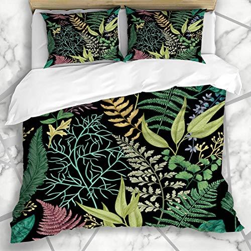 Zozun Duvet Cover Sets Herb Leaf Spring Leafy Green Vintage Pattern Botanic Engraving Foliage Plant Eucalyptus Design Nature Microfiber Bedding with 2 Pillow Shams
