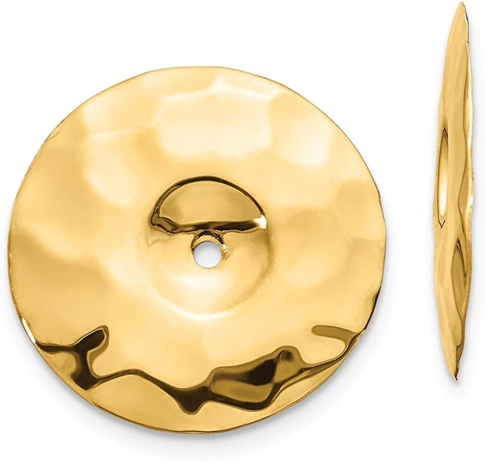 14K Polished Hammered Disc Earring Jackets