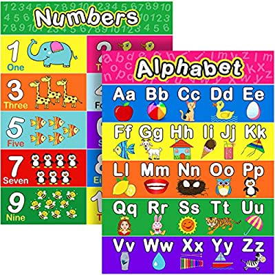 Extra Large Preschool Educational Learning Posters for Kids Toddlers, Nursery Homeschool Pre-K Kindergarten Classroom Decoration, 17 x 22 Inch (2 Pieces, Alphabet, Number 1-10)