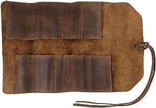 Bolsa pequena de couro rústico para enrolar e beber (10 compartimentos), bolsa de transporte portátil, armazenamento de of...