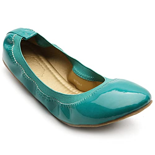 21a5056cbb6eff Ollio Women's Ballet Shoe Comfort Cute Enamel Flat