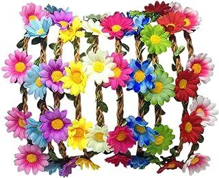 aheadad 12pcs Color al Azar Delicado Bohemio Boho Estilo Hippie Flor Guirnalda Corona Floral Diadema de Pelo de halo con Cinta elástica para Mujeres niñas Corona de Boda