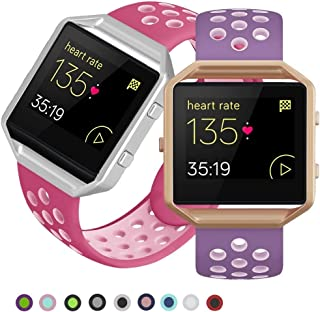 SKYLET Compatible with Fitbit Blaze Bands with Frames, 2 Pack Sport Silicone Replacement Bands Compatible with Fitbit Blaze Smart Fitness Watch Men Women Small Large Black