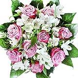 Rosenstrauß mit lila-weißen Rosen und weißen Alstromerien - Blumenstrauß'Geburtstag'