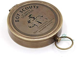 Roorkee Instruments India Magnetic Compass Eagle Scout Boy Directional with Leather Case for Camping, Hiking, Touring
