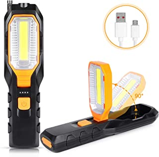 Haofy Luz de Trabajo LED COB, Lámpara de Inspección USB Recargable con 4 Modos, Lámpara de Trabajo Portátil con Base Magnética y Gancho, Linterna de Trabajo para Hogar, Taller, Automóviles, Camping