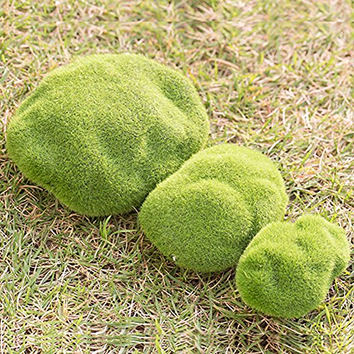Gemini _ Mall® 3 pièces Jardin Féérique miniature Mini Simulation Moss Pierre Ornement Dollhouse figurine Pot Décor DIY Décoration de la Maison