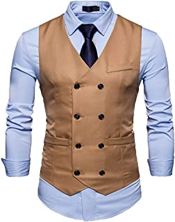 Men's Double Breasted Button Business Down Suit Tuxedo Modern Casual Waistcoat Slim Fit Wedding Suit Vest Party Vests Form...