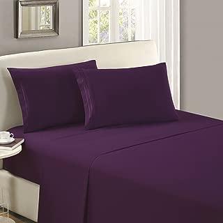Mellanni Flat Sheet King Purple - Brushed Microfiber 1800 Bedding Top Sheet - Wrinkle, Fade, Stain Resistant - Ultra Soft - Hypoallergenic (King, Purple)