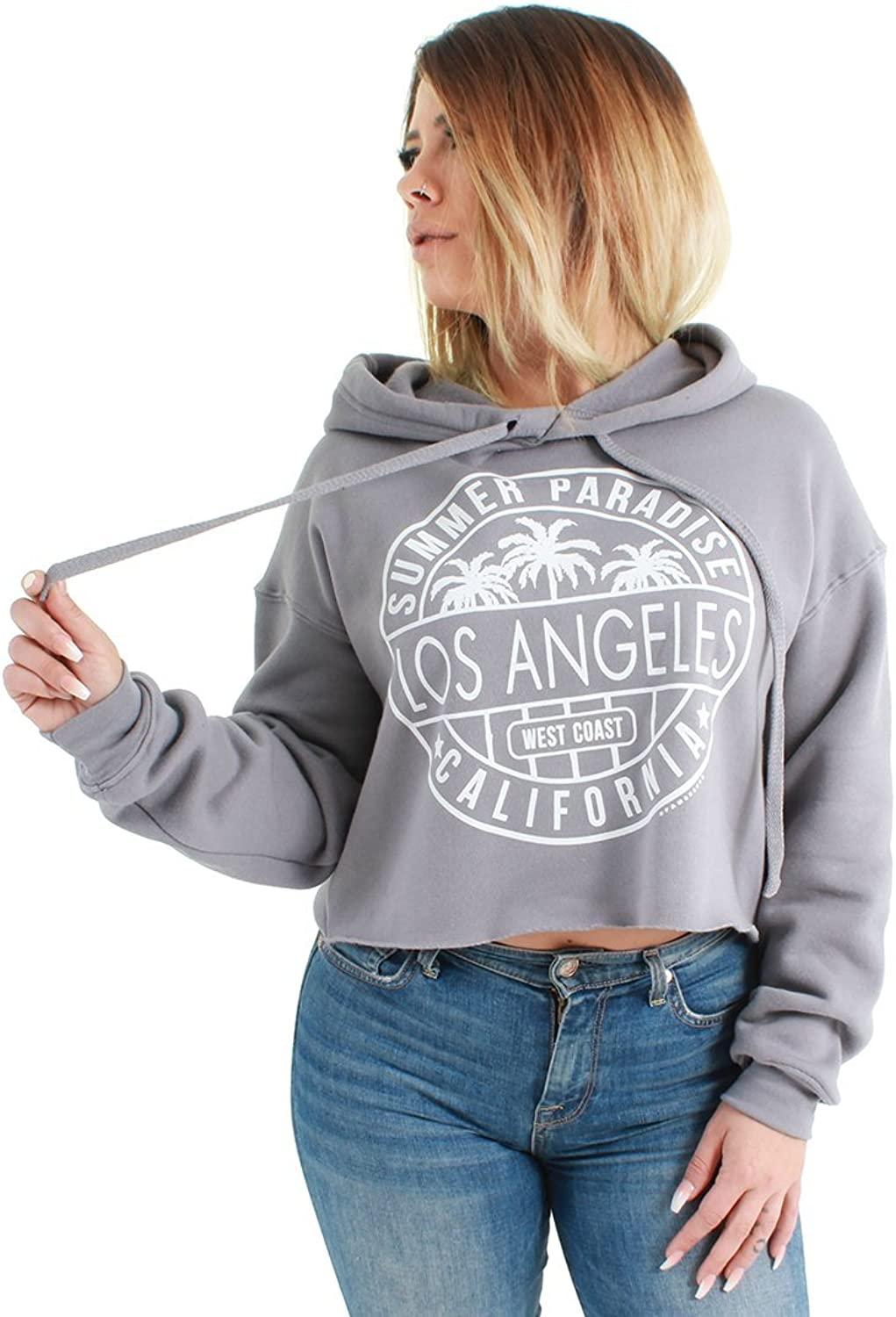 Dolphin Shirt Co Los Angeles Circle Print Cropped Hoodie Grey