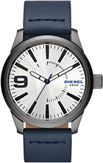 Diesel Men's 'Rasp Nsbb' Quartz Stainless Steel and Leather Casual Watch, Blue (Dz1859), Analog Display