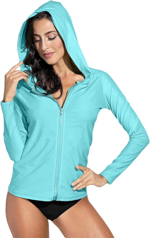 BesserBay Women's UV Sun Protection Zip Long Sleeve Rash Guard Swimsuit Top