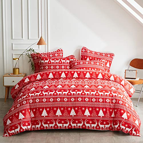 Uozzi Bedding Christmas Red Comforter Set Twin Size with Red White Snowflake and Deers Christmas Trees Holiday Style Reversible Down Alternative 800 TC Duvet for New Year Gift Choice