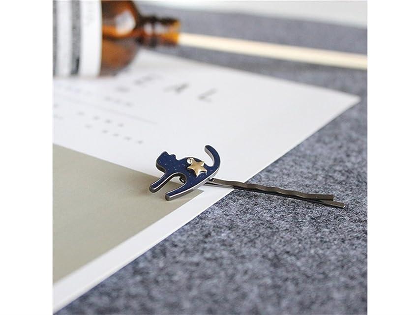 強調する悪夢黒板Osize 美しいスタイル 5つ星キテンワンワードヘアクリップサイドクリップヘアピンヘアアクセサリー(ブルー)