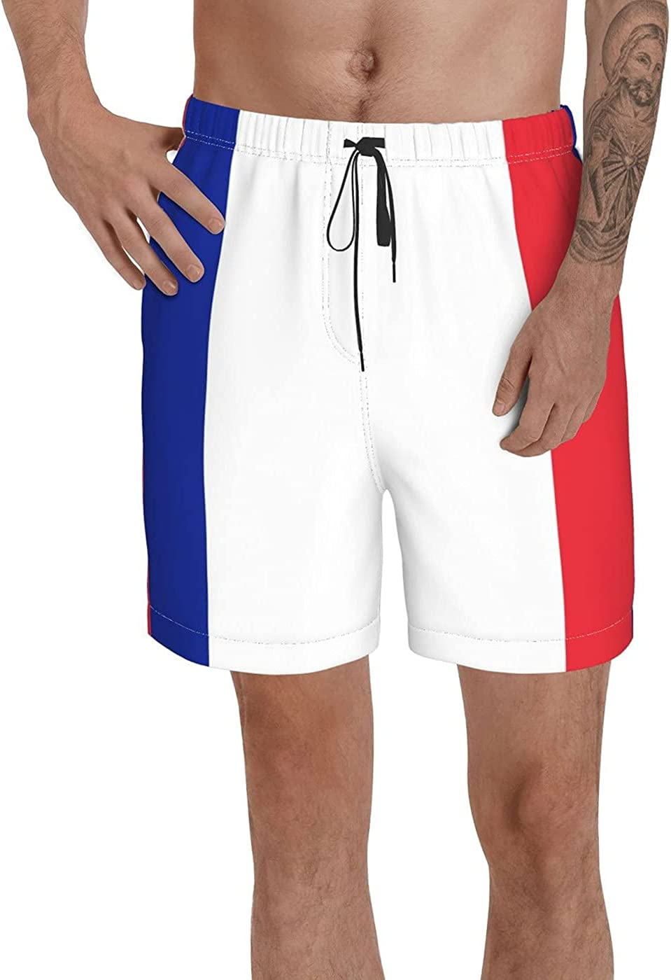 Count France Flag Men's 3D Printed Funny Summer Quick Dry Swim Short Board Shorts with