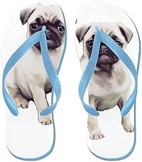 Pugs Sitting - Flip Flops, Funny Thong Sandals, Beach Sandals