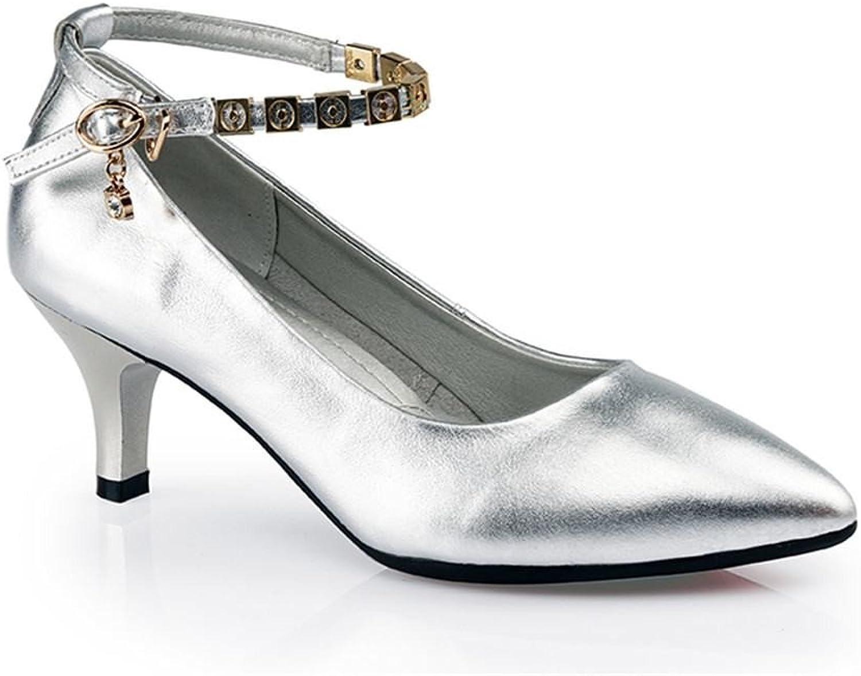 BYLE Nach Leder Sandalen Riemchen Samba Modern Jazz Dance Schuhe Latin Dance Schuhe Frauen mit Leder Weich Unten Silber 5,5CM