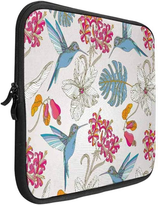 INTERESTPRINT Laptop Neoprene Protective Bag Tropical Leaf Flamingo Notebook Protective Sleeve Case Cover 11 Inch 11.6 Inch