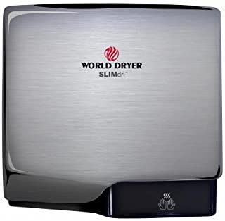 Slimdri World Dryer L-973 Brushed Stainless Steel ADA Compliant Hand Dryer, High Speed, Electric, 110-240 Volt, Cool or Warm Air Option, Energy Efficient, Fast 10-15 Second Dry Time, 10 Year Warranty