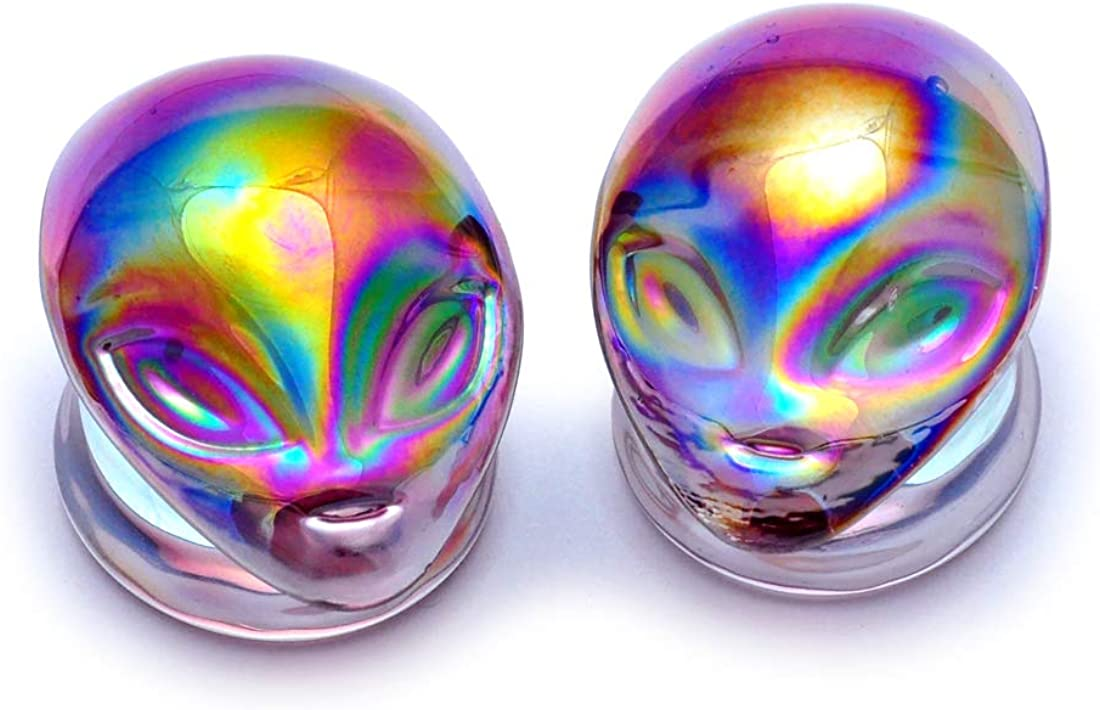 Mystic Metals Body Jewelry Pair of Iridescent Purple Alien Glass Plugs (PG-520) - Sold as a Pair