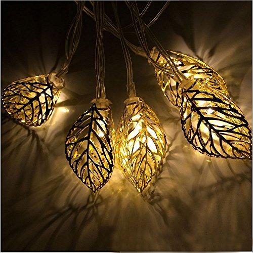 JOJOO 20 LED 16 ft / 4,9M Arbre feuilles solaires Guirlandes métal Ornement lumières pour jardin, mariage, fête, en plein air et de Noël, Amber LT038