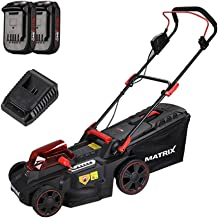 CYGG Lithium-Ion Cordless Lawn Mower,Wheeled Grass Trimmer- Powerful Brushless Motor, with 2 Battery & Charger, Black