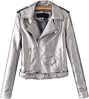 new product 74240 67f57 Amazon.it: Giacca In Pelle Biker - Argento