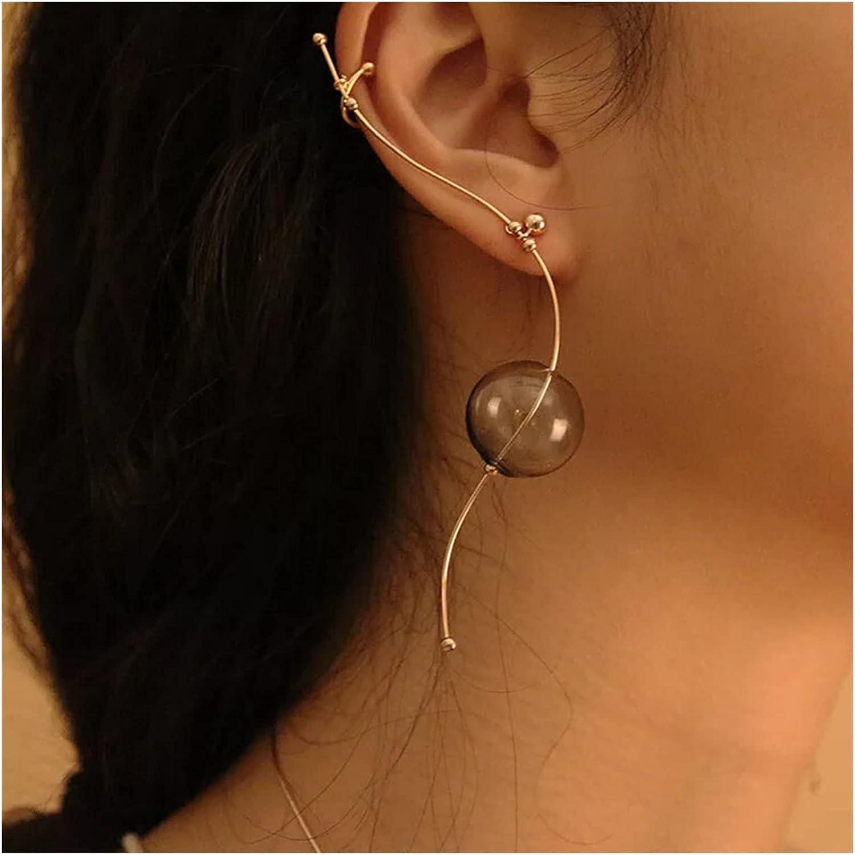 xunyang Ins Cool Style Copper Simple Glass Ball Wire Ear Cuff for Women Original Hot Korean Long Earrings for Women Jewelry