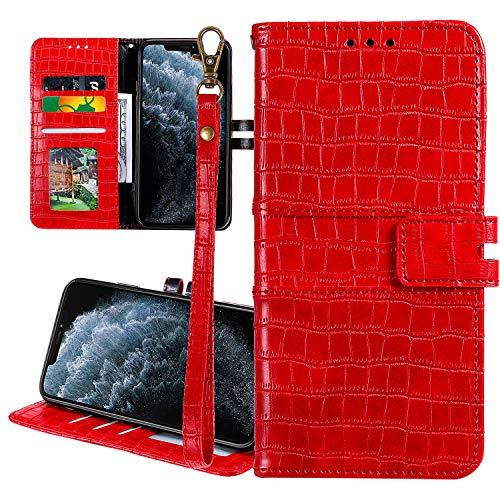 Nadoli Cuir Coque pour Huawei P20 Lite,Crocodile Modèle Luxe Homme Femme Pu Supporter Portefeuille Flip Protecteur Couverture Housse avec Porte-Cartes et Dragonne,Rouge