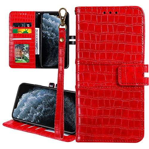 Nadoli Ledertasche für Samsung Galaxy A70,Krokodil Muster Luxus Männer Frauen Pu Standfunktion Flip Handy Schutzhülle Brieftasche mit Kartenhalter und Handschlaufe,Rot