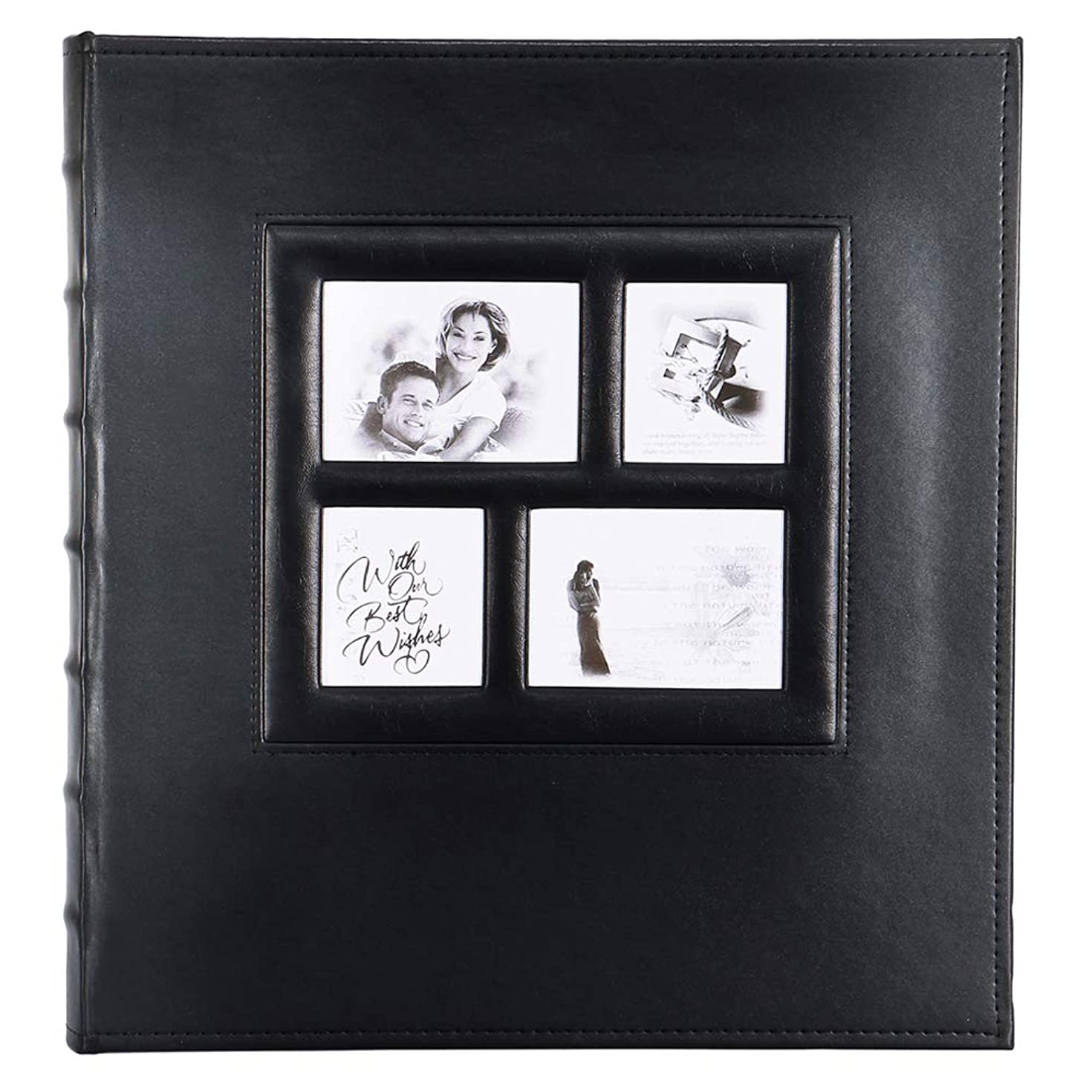 Photo Picture Album Self Adhesive, Self Stick Sticky Extra Large Leather Photo Albums with Magnetic Pages Holds Vertical Horizontal 3x5, 4x6, 5x7, 6x8, 8x10 Photos (30 Sheets / 60 Pages, Black)
