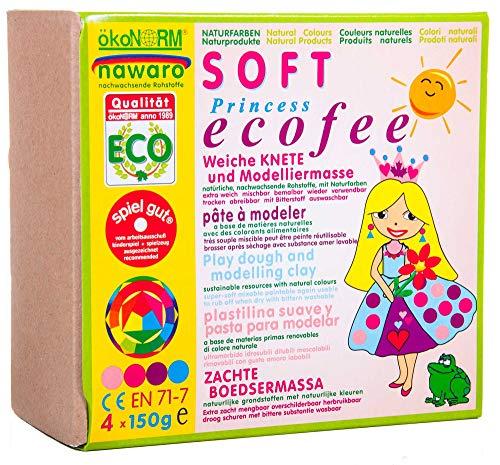 ökoNORM (Oekonorm) Nawaro SOFT Modellierknete, 4 Farben Set Princess Ecofee (Rose, Pink, Violett, Cyan), Variant, One Size