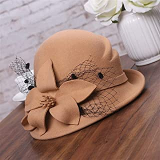 KCBYSS Winter Hat for Women Style Flower Warm Wool Hat Winter Cap Lady Party Hats Asymmetric Fedoras (Color : Camel)