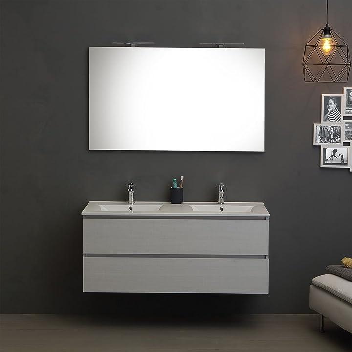 Mobile bagno 120 cm con 2 cassetti promenade doppio lavabo luce a led | berlin B072MG5GVQ