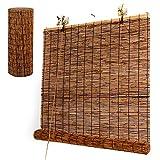 L-KCBTY Cortina De Bambú para Puertas Y Ventanas, Persiana Estor Enrollable De Bambú Interior Exterior, Montaje Sin Perforación, Decoración Persianas De Caña(Personalizable)