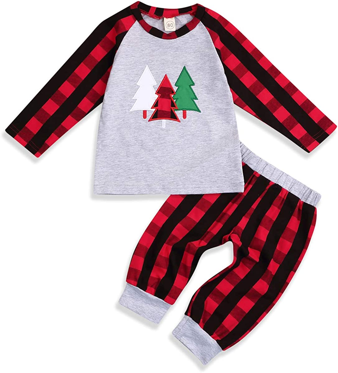 2Pcs Kids Christmas Outfits Toddler Baby Boy Girl Clothes Plaid T-Shirt Sweater Tops +Red Plaid Pants Fall Winter Clothing